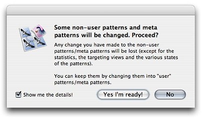 Confirmation dialog for installing factory version of patterns