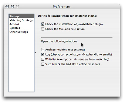 Preferences - Startup settings